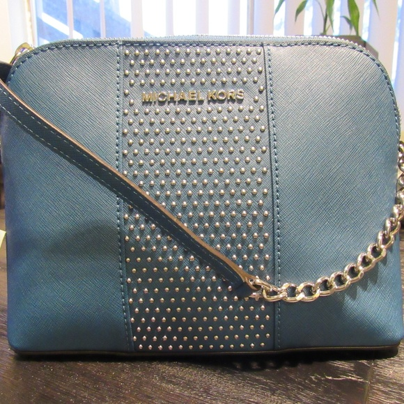 407a8dacf9060 New Michael Kors Micro Stud Blue Steel Crossbody